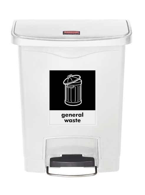 Rubbermaid Slim Jim 30L Resin Front Step-On with Free A4 General Waste Sticker - White