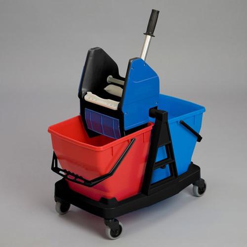 Rubbermaid Trolley+2Xbucket 18L+Wringer
