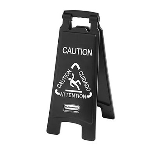 Rubbermaid Executive Multi-Lingual Caution Sign, 2-Sided, Black