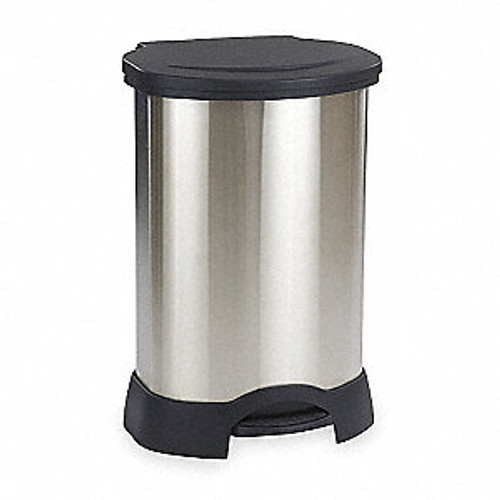 Rubbermaid Step-On Container 113L Stainless Steel Black
