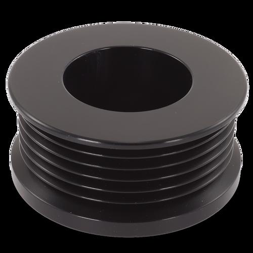 Ford/Vette 6 rib pulley, black hard anodized aluminum