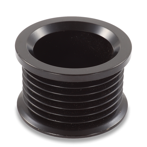 54mm 7 rib pulley, extended shoulder, hard anodized alum