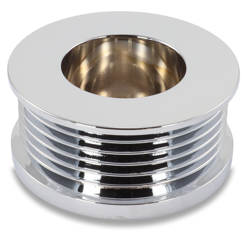 Ford/Vette 8 rib pulley, chrome plated aluminum