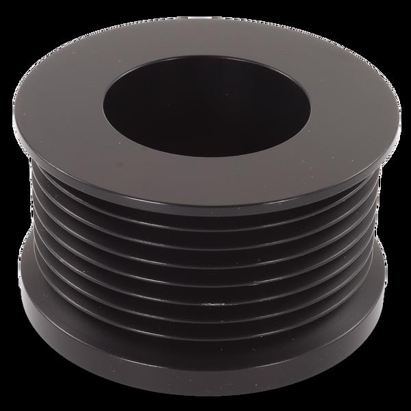 Ford/Vette  8 rib pulley, black hard anodized aluminum