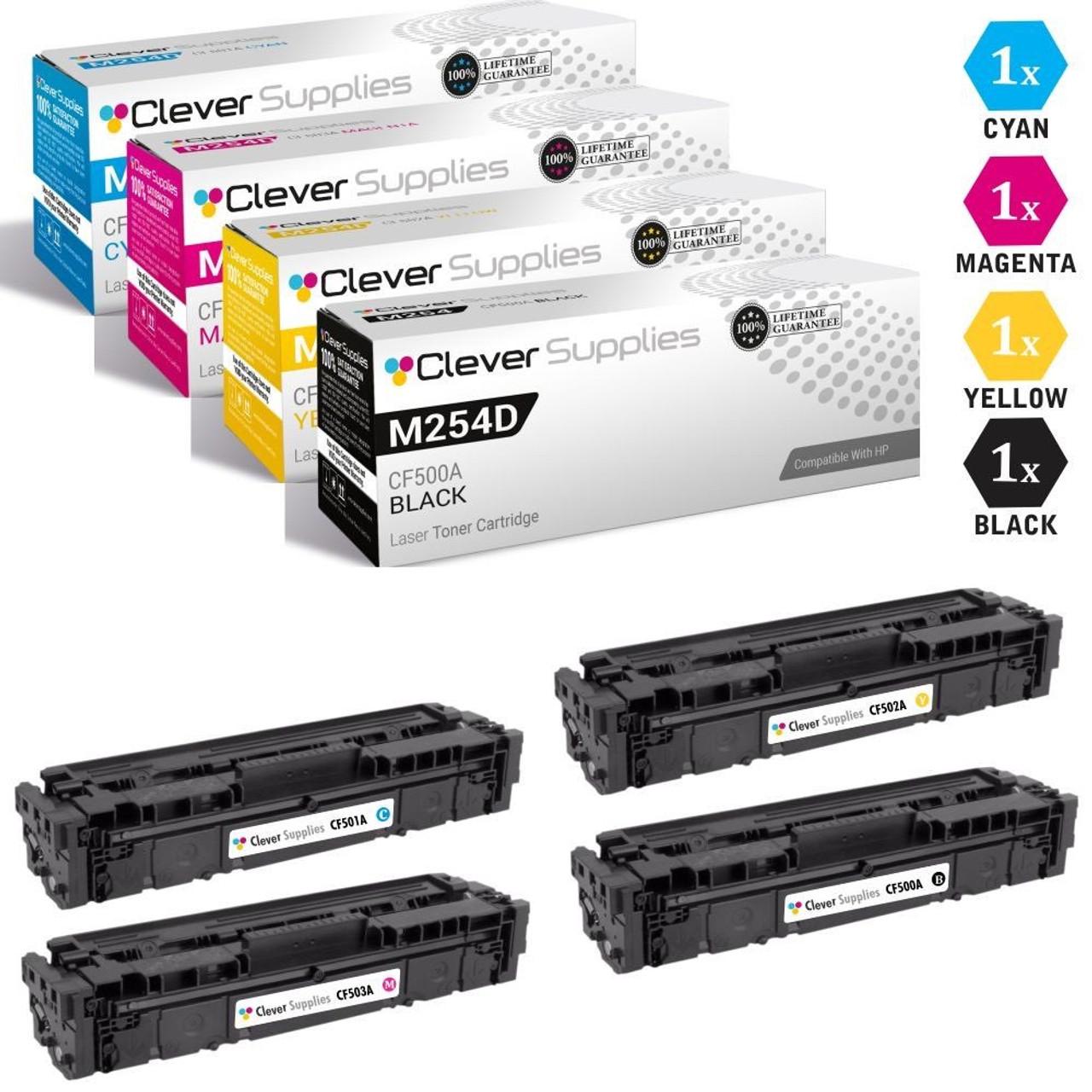 CS Compatible Toner Cartridge Replacement for HP M254dw CF500A Black CF501A Cyan CF503A Magenta CF502A Yellow 4 Color Set