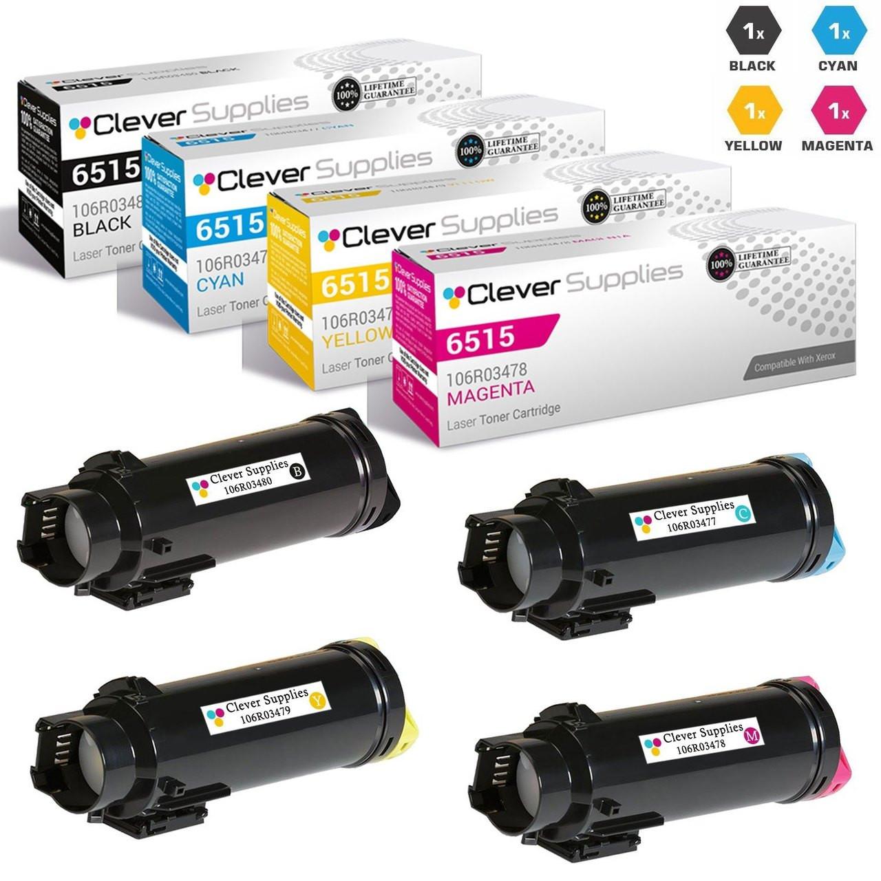 Compatible Xerox Workcentre 6515 Toner Cartridges 4 Color Set