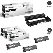 Compatible Brother DR630-TN630 Black Drum and 3 Toner Cartridge Set