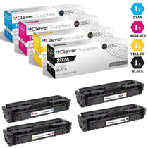CS Compatible Replacement for HP 202A Toner Cartridges 4 Color Set (CF500A, CF501A, CF503A, CF502A)