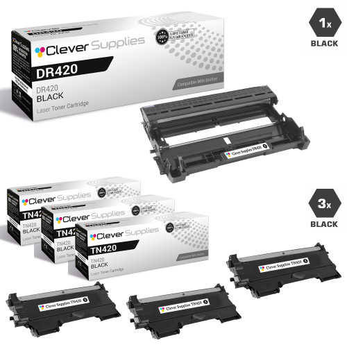 Compatible Brother DR420-TN420  / TN450 Black Drum and 3 Toner Set
