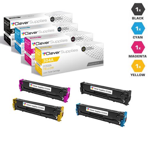 CS Compatible Replacement for HP 304A 4 Color LaserJet Toner Cartridges/ (CC530A/ CC531A/ CC532A/ CC533A)