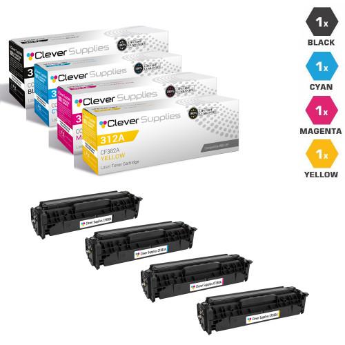 CS Compatible Replacement for HP 312A & 312X Toner Cartridge 4 Color Set (CF380X/ CF381A/ CF383A/ CF382A)