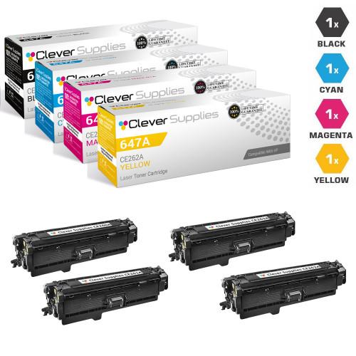 CS Compatible Replacement for HP 647A & 648A Toner Cartridge 4 Color Set (CE260A/ CE261A/ CE263A/ CE262A)