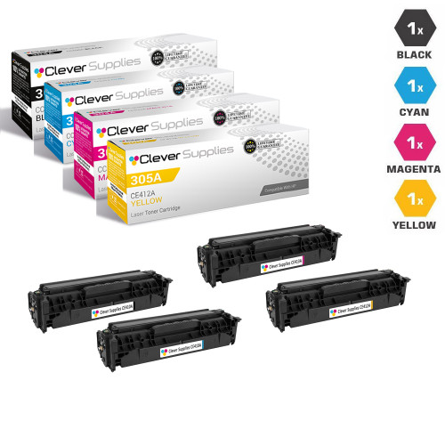 CS Compatible Replacement for HP 305X & 305A Toner Cartridges Color Laserjet 4 Color Set (CE410X/ CE411A/ CE412A/ CE413A)