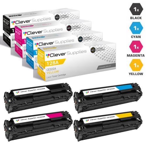 CS Compatible Replacement for HP 128A Toner Cartridges 4 Color Set (CE320A/ CE321A/ CE323A/ CE322A)
