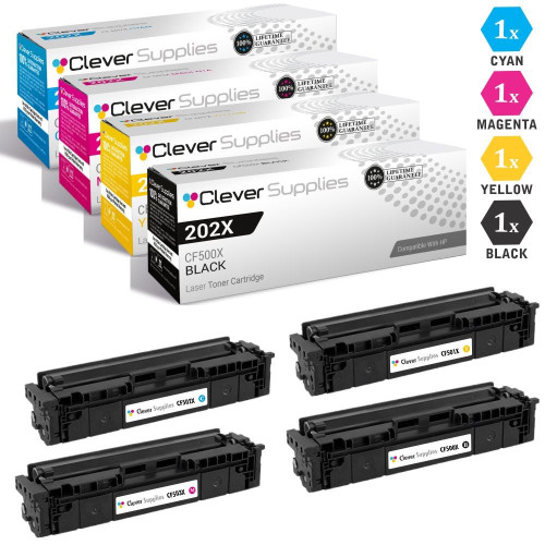 CS Compatible Replacement for HP 202X Toner Cartridges 4 Color Set (CF500X, CF501X, CF503X, CF502X)