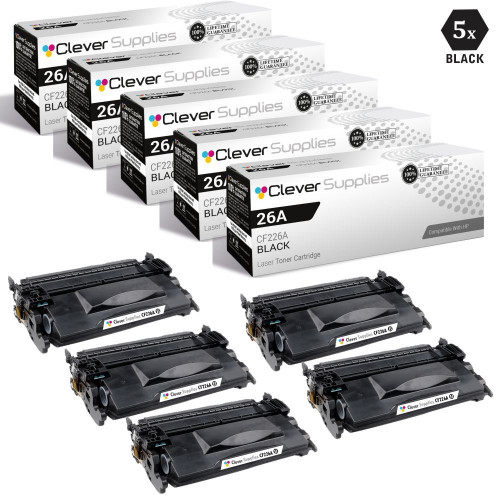 CS Compatible Replacement for HP 26A Toner Cartridges Black 5 Pack (CF226A)
