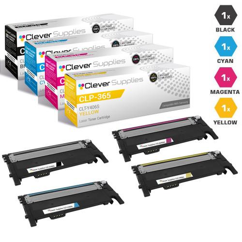 Compatible Samsung CLP-365 Toner Cartridge 4 Color Set (CLT-K406S, CLT-M406S, CLT-C406S, CLT-Y406S)