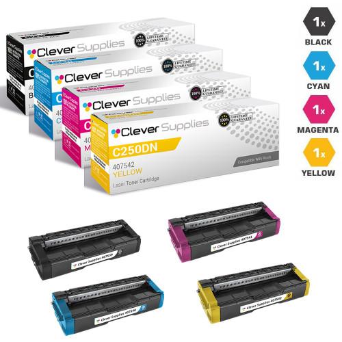Compatible Ricoh C250DN Toner Cartridge 4 Color Set (407539, 407540, 407541, 407542)
