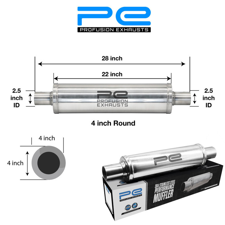 """2.5"""" (63mm) 4x22""""inch Round Universal Stainless Steel Profusion Exhaust Silencer"""