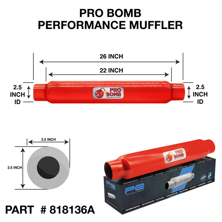 """2.5"""" 63mm Round x 22"""" PRO Bomb Without TIp glass pack exhaust muffler"""