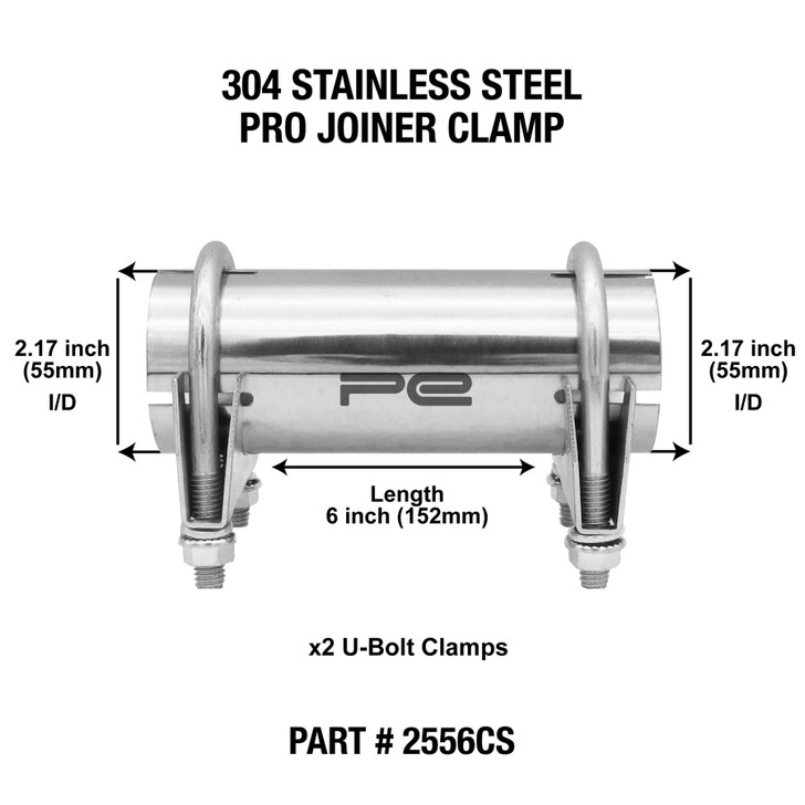 """2.17"""" inch Stainless Clamp on Exhaust pipe joiner connector sleeve tube repair"""