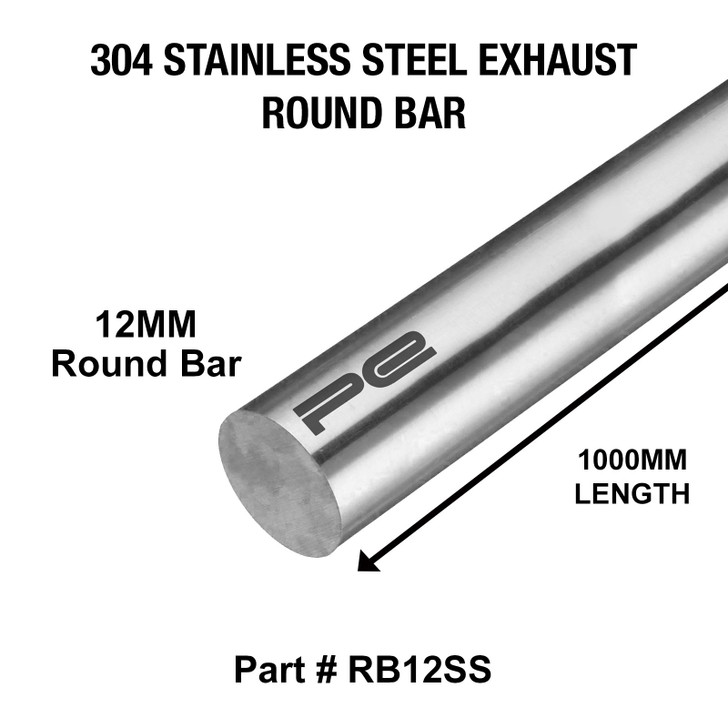 12mm Round x 1000mm Length 304 Stainless Steel Exhaust Round Bar - RB12SS