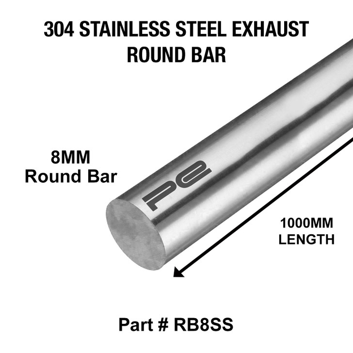8mm Round x 1000mm Length 304 Stainless Steel Exhaust Round Bar - RB8SS