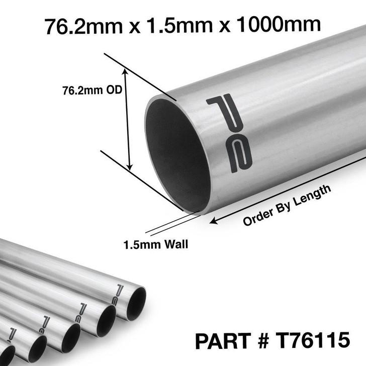 "76mm 3""inch 1000mm 304 Stainless Steel Exhaust Repair Tube Pipe 1.5mm"