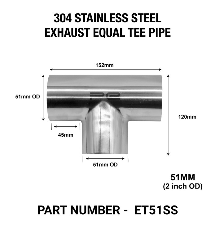 51mm OD EQUAL TEE EXHAUST PIPE 304 STAINLESS STEEL POLISHED