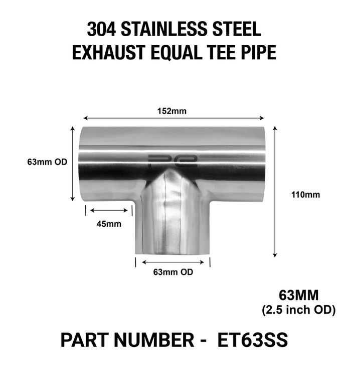 63mm OD EQUAL TEE EXHAUST PIPE 304 STAINLESS STEEL POLISHED