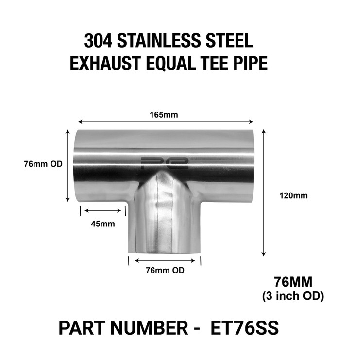 76mm OD EQUAL TEE EXHAUST PIPE 304 STAINLESS STEEL POLISHED