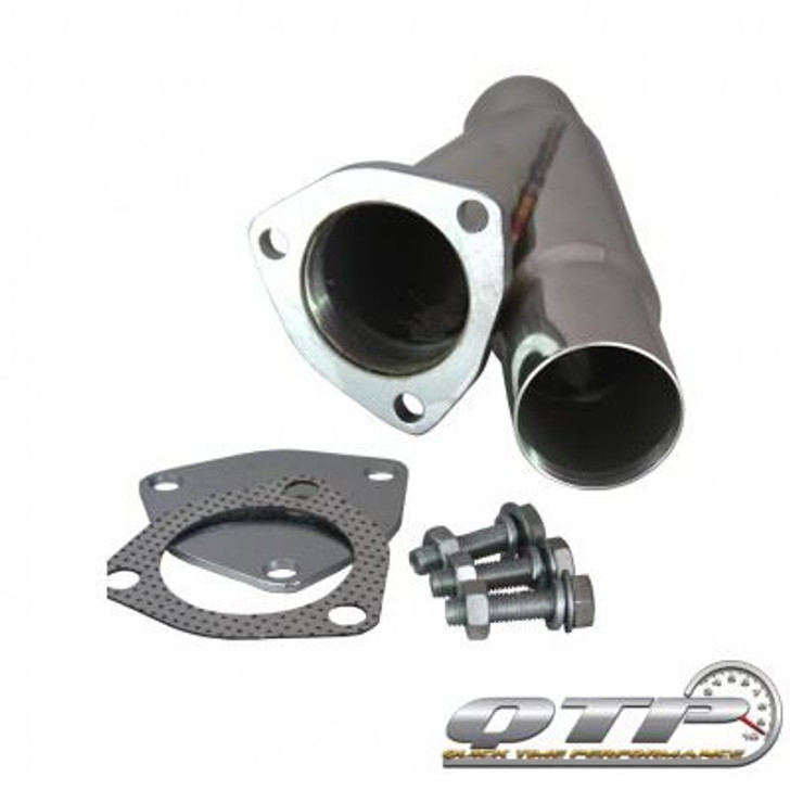 """QTP 10225 2.25"""" 2-1/4"""" Stainless Steel Exhaust Cutout Y-Pipe With Cap"""