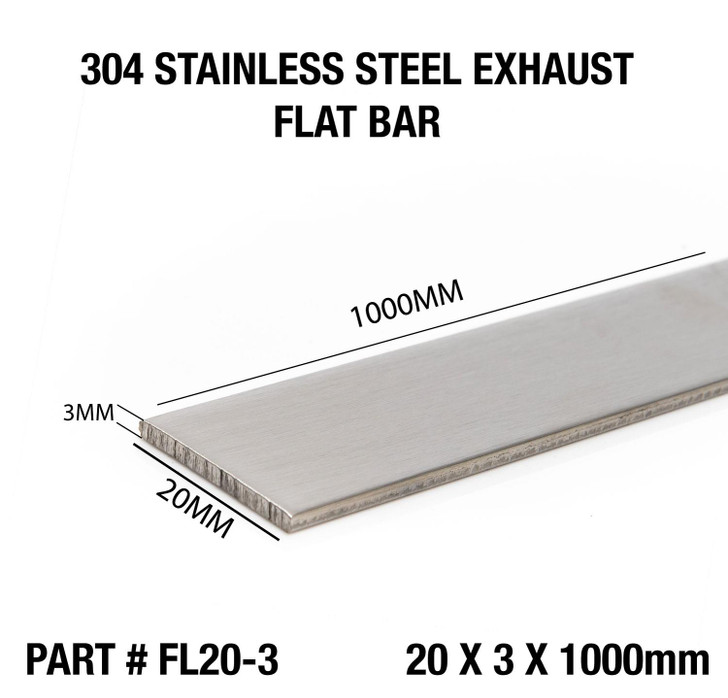 Brushed Polished 304 Stainless Steel Flat Bar 20 x 3mm
