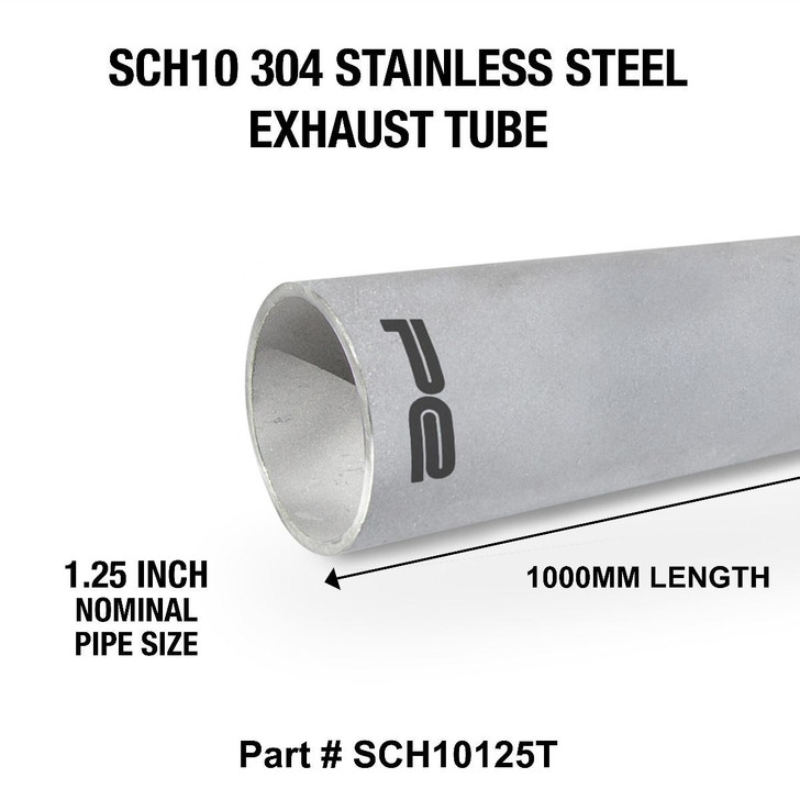 """1.25"""" NP SCH10 x 1000mm 304 Stainless Steel Length Exhaust Pipe Tube - SCH10125T"""