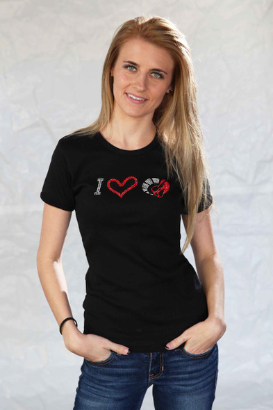 """LADIES CRYSTAL """"I LOVE THE VOA"""" BLING T SHIRT"""
