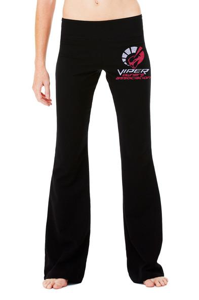 LADIES VOA COTTON SPANDEX YOGA PANTS with Bling Logo