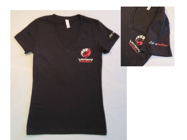 WOMENS FITTED BLACK V NECK T W/LOGO ON FRONT ONLY