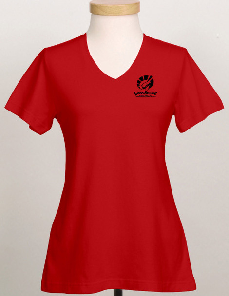 RED LADIES SHORT SLEEVE COTTON TOP