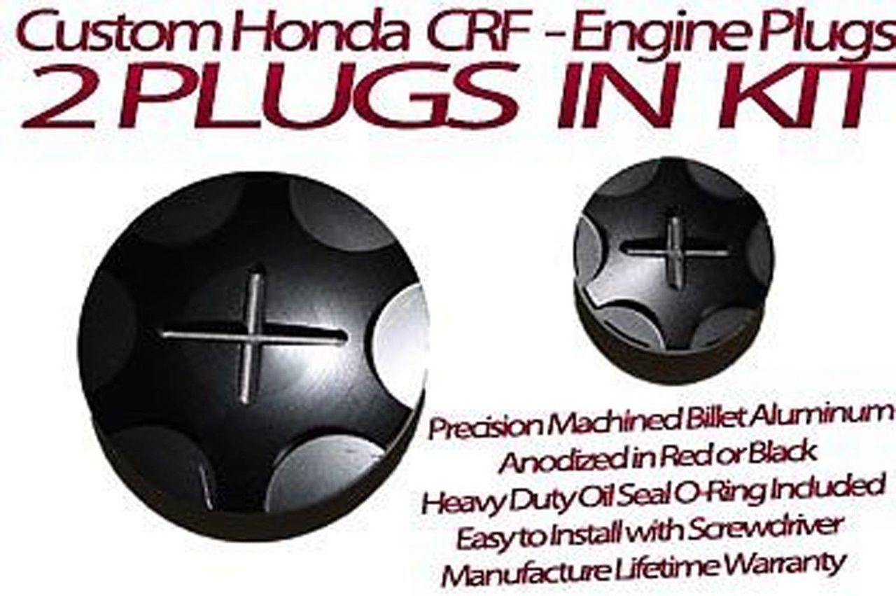 Honda CRF450 CRF450R CRF 450 Billet Aluminum Anodized Engine Plug Kit RED