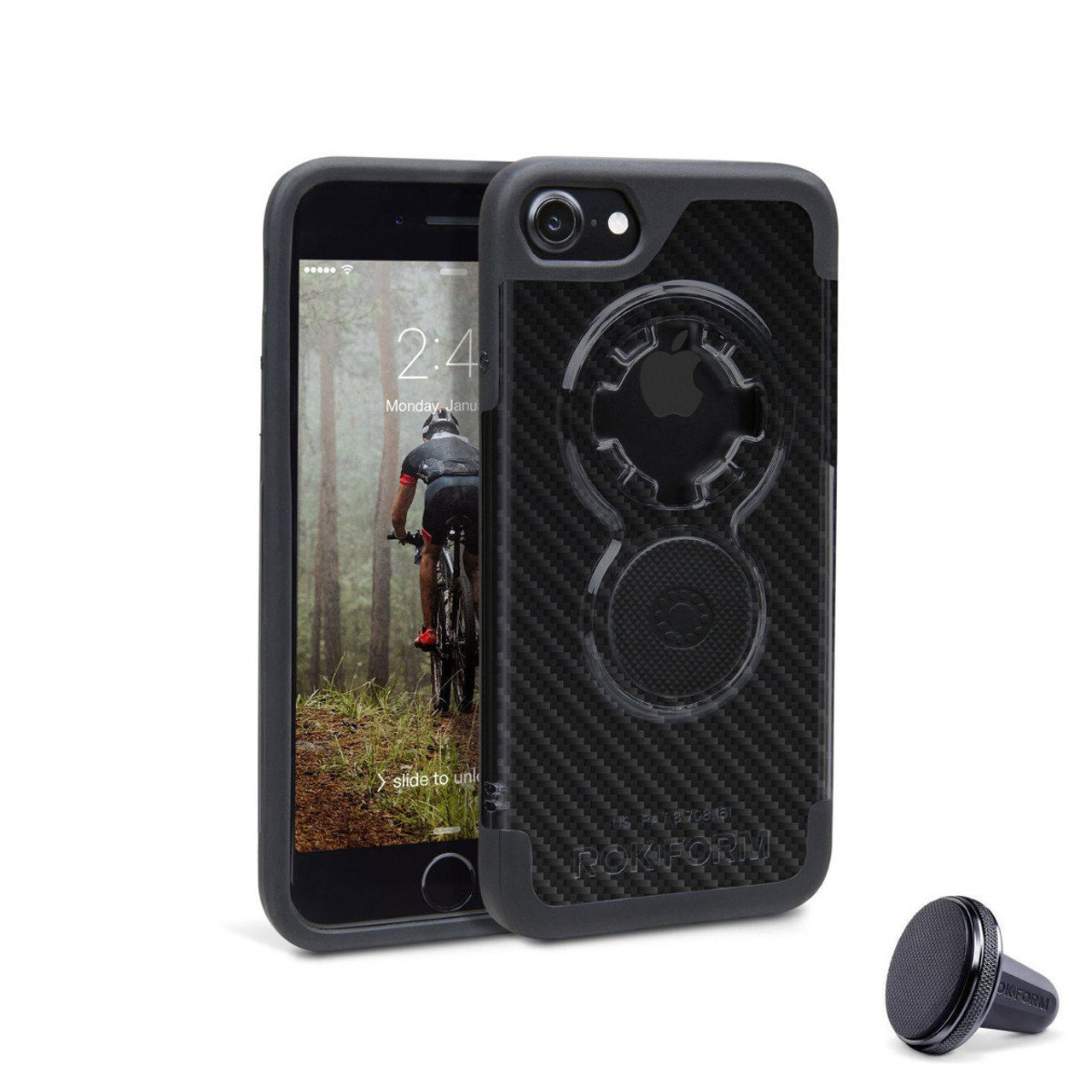 quite nice cae00 e3bc1 RokForm iPhone 8/7 Crystal Cell Phone Case Carbon Fiber Finish with Vent  Mount