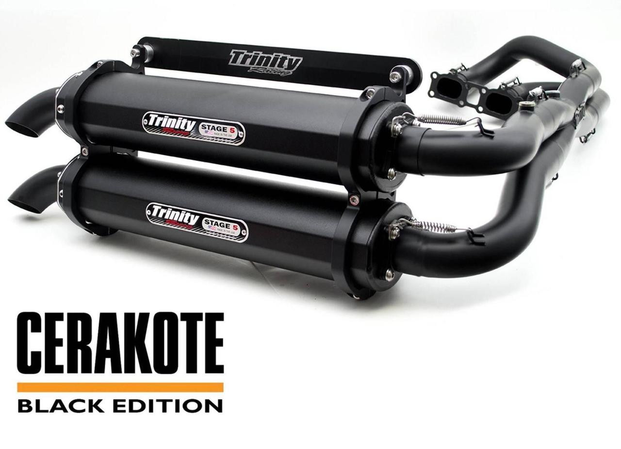 Trinity Exhaust Dual Full Muffler System Cerakote Polaris RZR XP Turbo  2016-2019