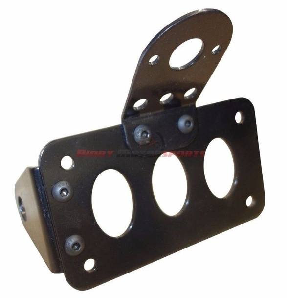 Axle Side Mount License Plate Bracket Vertical or Horizontal Tag Black
