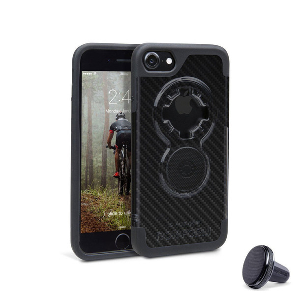 RokForm iPhone 8/7 Crystal Cell Phone Case Carbon Fiber Finish with Vent Mount