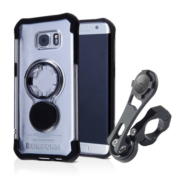 RokForm Motorcycle Handlebar Mount Kit With Samsung Galaxy S7 Edge Clear Case