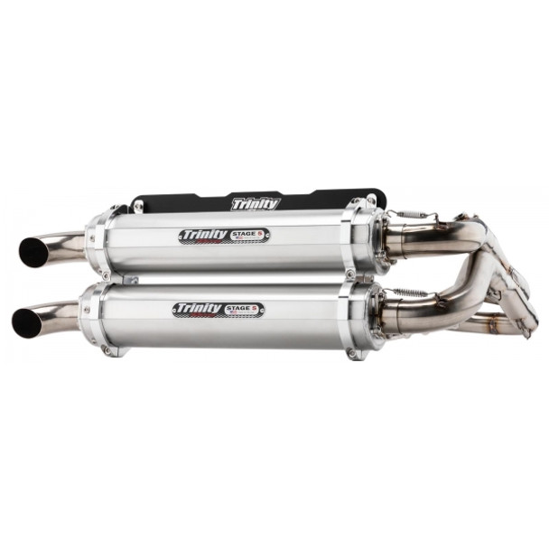 Trinity Exhaust Dual System Brushed Polaris RZR RS1 2018-2019 TR-4166D