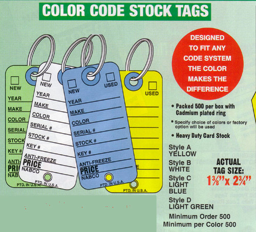 Key Tags: Color Code Vehicle Stock Tags (CT5)