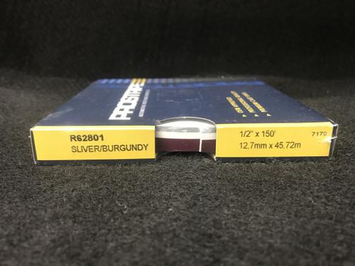 "R62801 Silver/Burgundy 1/2"" Dual Color Multi-stripe 1/2"" x 150'"