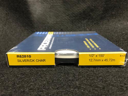 "R62810 Silver Metallic/Dark Charcoal 1/2"" Dual Color Multi-stripe 1/2"" x 150' (R62810)"