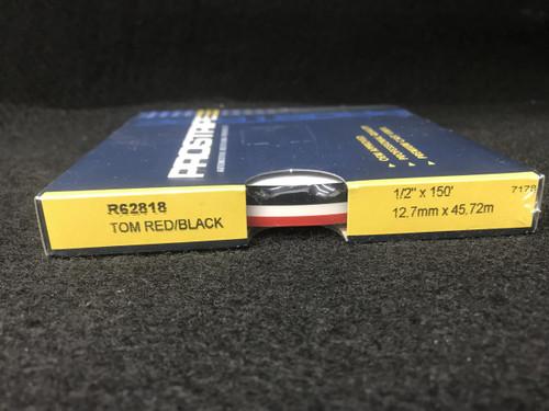 """R62818 Tomato Red/Black 1/2"""" Dual Color Multi-stripe 1/2"""" x 150'"""