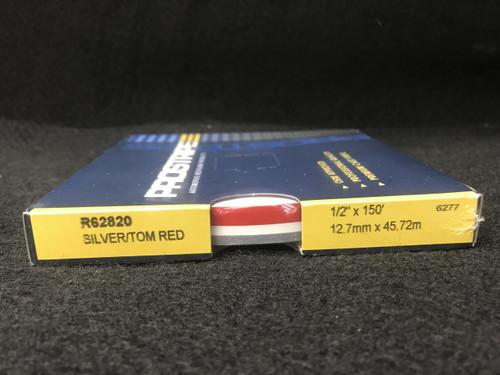 """R62820 Silver/Tomato Red 1/2"""" Dual Color Multi-stripe 1/2"""" x 150'"""